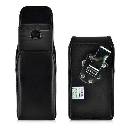 Motorola Moto Z2 Force Holster Metal Clip Case Pouch Leather Vertical