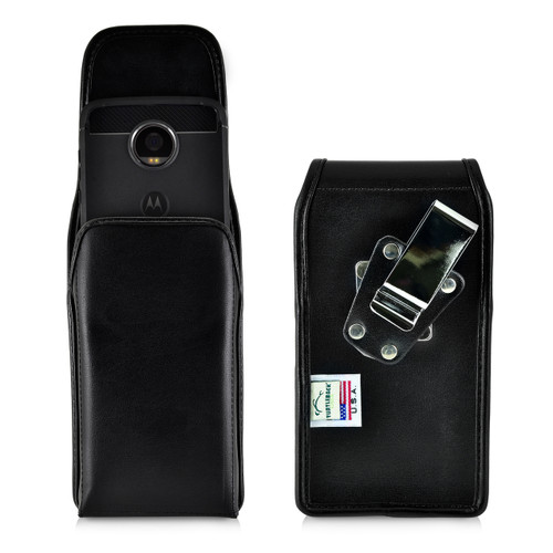 Motorola Moto Z2 Play Holster Metal Clip Case Pouch Leather Vertical