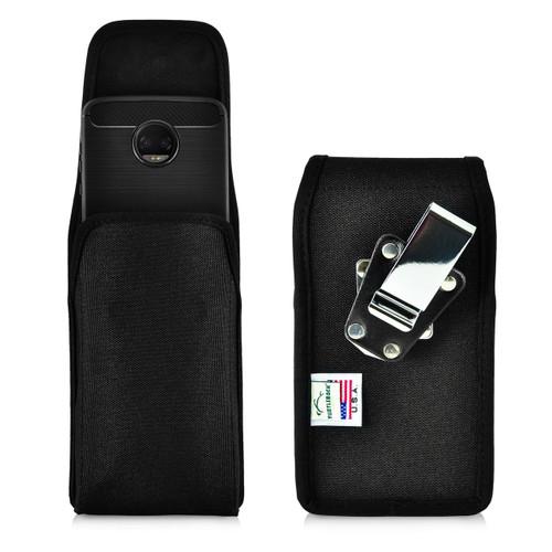 Motorola Moto Z2 Force Holster Metal Clip Case Pouch Nylon Vertical