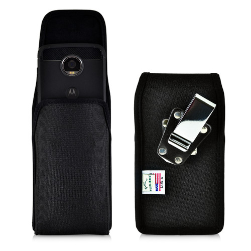 Motorola Moto Z2 Play Holster Metal Clip Case Pouch Nylon Vertical