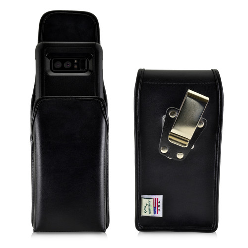 Galaxy Note 8 Vertical Leather Holster for Otterbox Commuter Case Metal Clip and Fits Bulk Cases