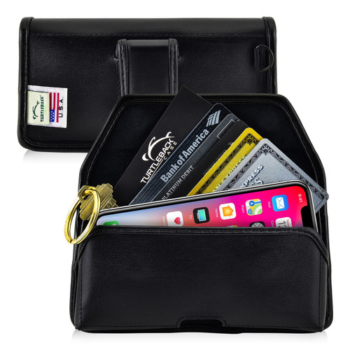 iPhone 11 Pro (2019), XS (2018) & X (2017) Credit Card Belt Clip Holster Case with D Ring, Executive Belt Clip, Black Leather Pouch, Horizontal