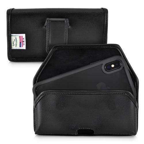 iPhone 11 Pro (2019), XS (2018) & X (2017) Belt Holster Case Black Leather Pouch Executive Belt Clip Horizontal