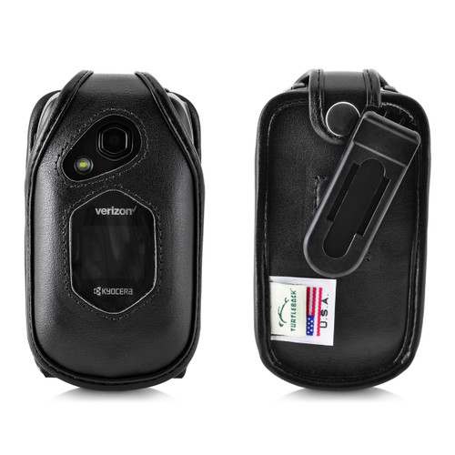 Kyocera DuraXV LTE Verizon E4610 Flip Phone FITTED CASE Black Leather Plastic Ratcheting Removable Belt Clip