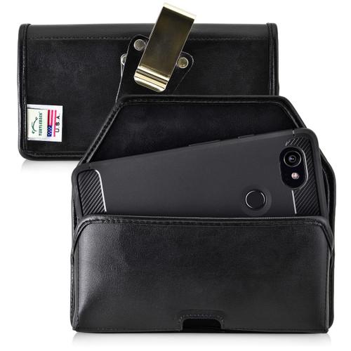 Google Pixel 2 XL Belt Case Fits Slim Case Black Leather Heavy Duty Rotating Belt Clip