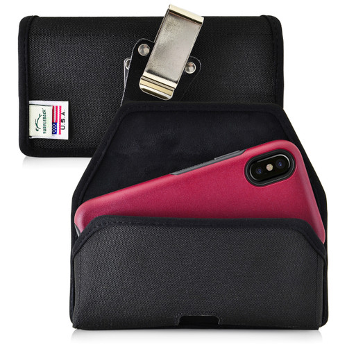 iPhone 11 Pro, XS & X with Otterbox COMMUTER SYMMETRY case Black Holster Nylon Pouch with Heavy Duty Rotating Belt Clip Horizontal Made in USA