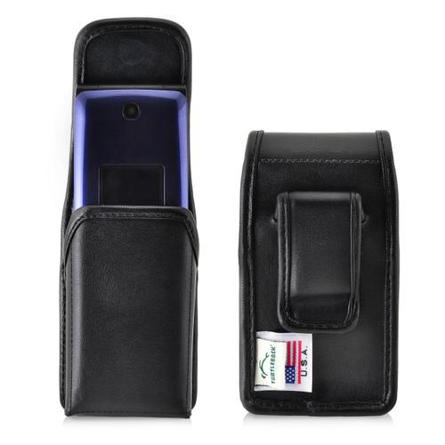 Consumer Cellular Alcatel GO FLIP, Go Flip V, ATT Flip2, T-Mobile 4044W, MYFLIP (A405DL) Black LEATHER Magnet Closure Executive Belt Clip