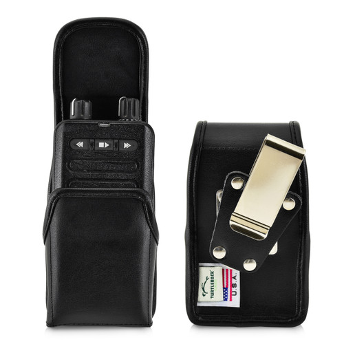 Motorola Minitor VI (6) Voice Pager Fire Radio Phone Black Leather Pouch Holster Case Rotating Belt Clip, Magnetic Flap