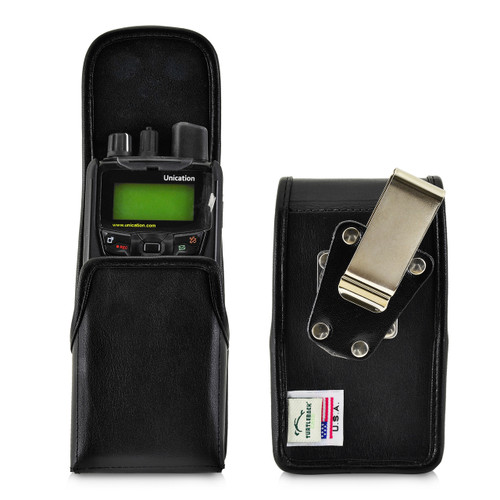Unication G1 Voice Pager Fire Radio Phone Black Leather Pouch Holster Case Rotating Belt Clip, Magnetic Flap