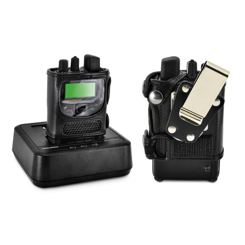 Unication G1 Voice Pager Fire Pager Radio Phone, Black Leather Holster Case with Metal Ratcheting Removable Belt Clip