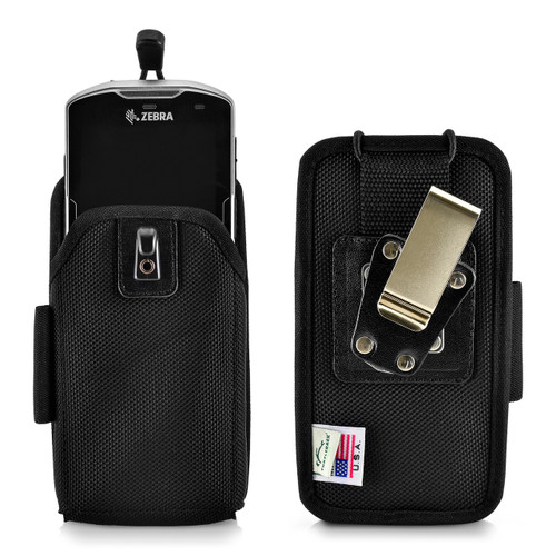 Zebra Motorola TC51 / TC52-HC / TC52x / TC56 / TC57x / TC510K Touch Mobile Computer Nylon Holster, 2 Belt Clips (Metal Clip & Belt Loop)