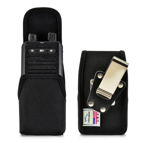 Motorola Minitor VI (6) Voice Pager Fire Radio Black Nylon Holster Case Removable Clip Magnetic Closure Flap