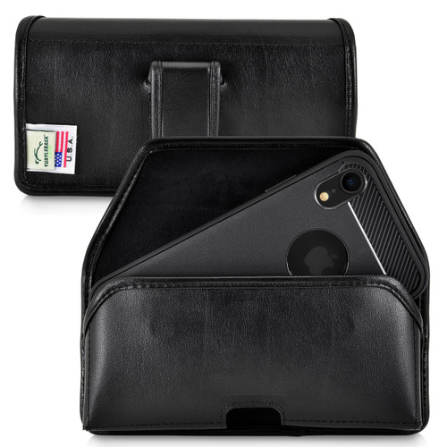 iPhone 11 (2019) & iPhone XR (2018) Belt Holster Case Horizontal Black Leather Pouch Executive Belt Clip