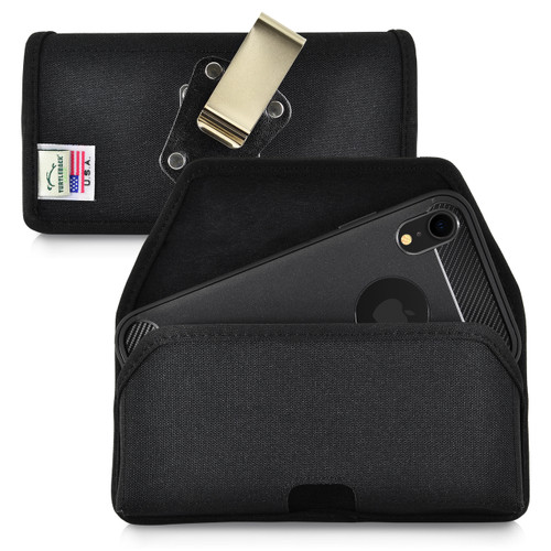 iPhone 11 (2019) & iPhone XR (2018) Belt Clip Horizontal Holster Case Black Nylon Pouch Heavy Duty Rotating Clip