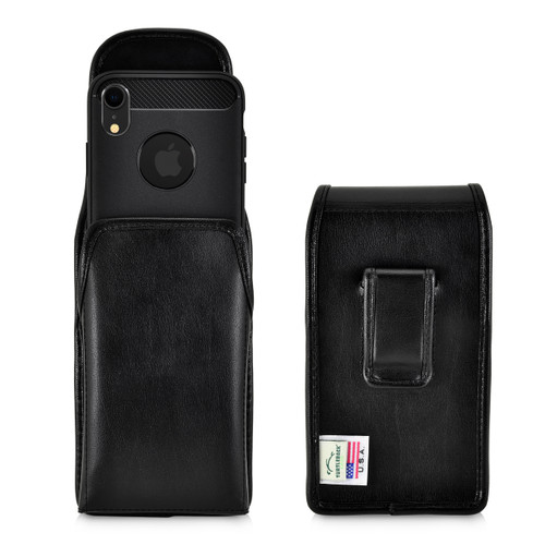 iPhone 11 (2019) & iPhone XR (2018)  Black Vertical Belt Holster With Leather Pouch & Executive Belt Clip