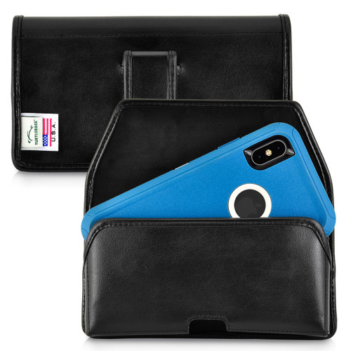 iPhone 11 Pro Max (2019) / XS Max (2018) Fits with OTTERBOX DEFENDER, Black Leather Belt Case Pouch with Executive Belt Clip, Horizontal Made in USA