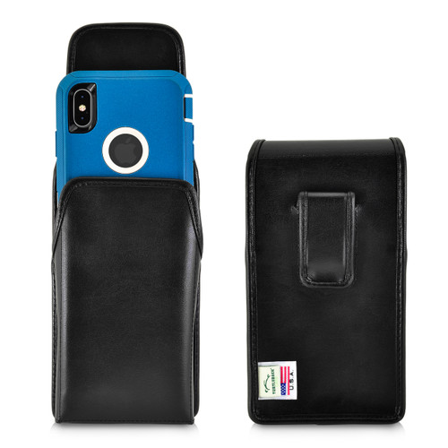 iPhone 11 Pro Max (2019) / XS Max (2018) Fits with OTTERBOX DEFENDER, Vertical Belt Case Black Leather Pouch with Executive Belt Clip, Made in USA