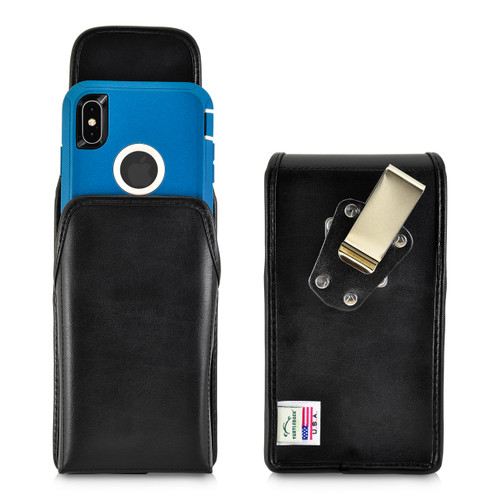 iPhone 11 Pro Max (2019) / XS Max (2018) Fits with OTTERBOX DEFENDER, Vertical Holster Black Leather Pouch with Heavy Duty Rotating Belt Clip, Made in USA