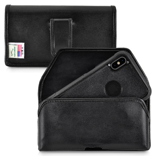 iPhone 11 Pro Max (2019) / XS Max (2018) Fits with OTTERBOX COMMUTER, Black Leather Belt Case Pouch with Executive Belt Clip, Horizontal Made in USA