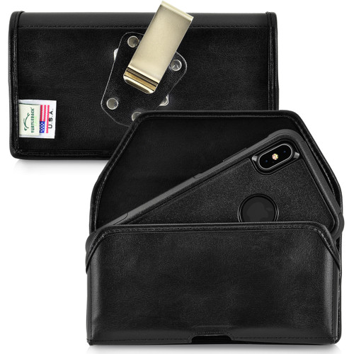 iPhone 11 Pro Max (2019) / XS Max (2018) Fits with OTTERBOX COMMUTER, Black Leather Holster Pouch with Heavy Duty Rotating Belt Clip, Horizontal Made in USA