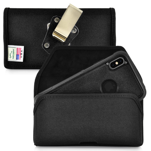 iPhone 11 Pro Max (2019) / XS Max (2018) Fits with OTTERBOX COMMUTER, Black Nylon Holster Pouch with Heavy Duty Rotating Belt Clip, Horizontal Made in USA
