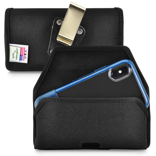 Turtleback Belt Clip Case Designed for iPhone 11 Pro, XS & X Fits with OTTERBOX STATEMENT, Black Nylon Holster Pouch with Heavy Duty Rotating Belt Clip, Horizontal Made in USA