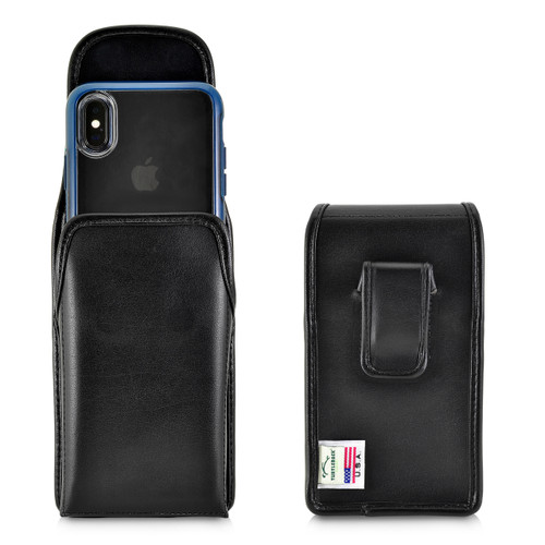Turtleback Holster Designed for iPhone 11 Pro, XS & X Fits with OTTERBOX STATEMENT, Vertical Belt Case Black Leather Pouch with Executive Belt Clip, Made in USA