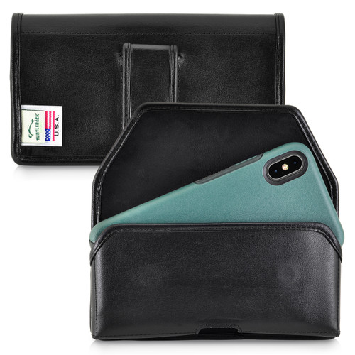 Turtleback Holster Designed for iPhone 11 Pro Max (2019) / XS Max (2018) with OTTERBOX SYMMETRY, Black Leather Belt Case Pouch with Executive Belt Clip, Horizontal Made in USA