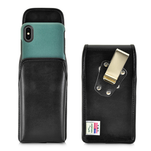 Turtleback Belt Case Designed for iPhone 11 Pro Max (2019) / XS Max (2018) with OTTERBOX SYMMETRY, Vertical Holster Black Leather Pouch with Heavy Duty Rotating Belt Clip, Made in USA