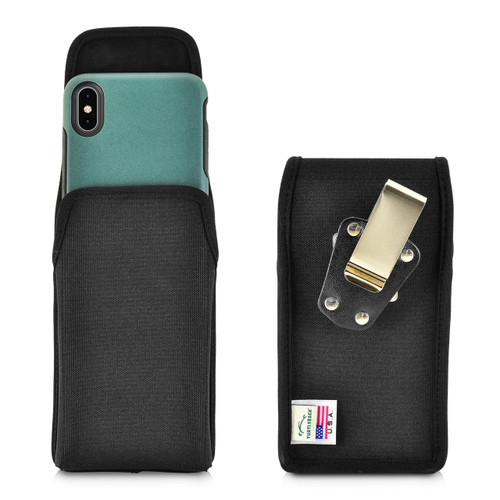 Turtleback Belt Clip Case Designed for iPhone 11 Pro Max (2019) / XS Max (2018) with OTTERBOX SYMMETRY, Vertical Holster Black Nylon Pouch with Heavy Duty Rotating Belt Clip, Made in USA