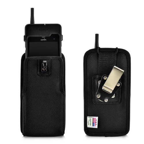 Sonim XP8 XPand Direct Mode Phone Belt Holder, Vertical Black Nylon with Rotating Metal Belt Clip