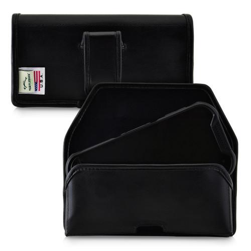 Kyocera DuraForce PRO 2 (6910 6900) Belt Case Holster Executive Belt Clip Black Leather Pouch, Horizontal