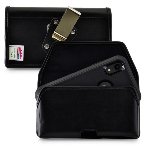 iPhone 11 (2019) & XR (2018) Fits with OTTERBOX DEFENDER, Black Leather Holster Pouch with Heavy Duty Rotating Belt Clip, Horizontal Made in USA
