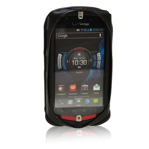 Casio GZ1 Commando 4G LTE C811 Black Leather Case with Rotating Metal Clip