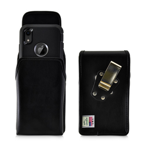 iPhone 11 (2019) & XR (2018) Fits with OTTERBOX DEFENDER, Vertical Holster Black Leather Pouch with Heavy Duty Rotating Belt Clip, Made in USA