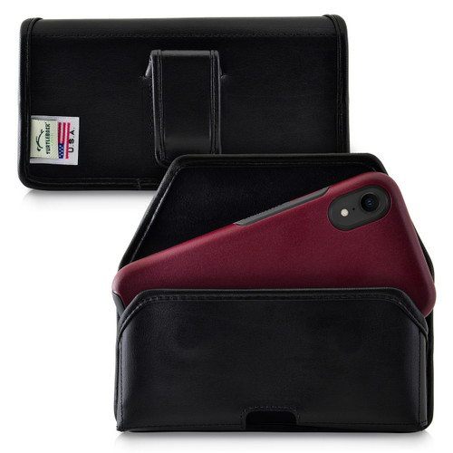 Turtleback Holster Designed for iPhone 11 (2019) & XR (2018) Fits with OTTERBOX SYMMETRY, Black Leather Belt Case Pouch with Executive Belt Clip, Horizontal Made in USA