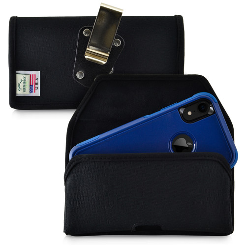 iPhone 11 (2019) & XR (2018) Fits with OTTERBOX COMMUTER, Black Nylon Holster Pouch with Heavy Duty Rotating Belt Clip, Horizontal Made in USA