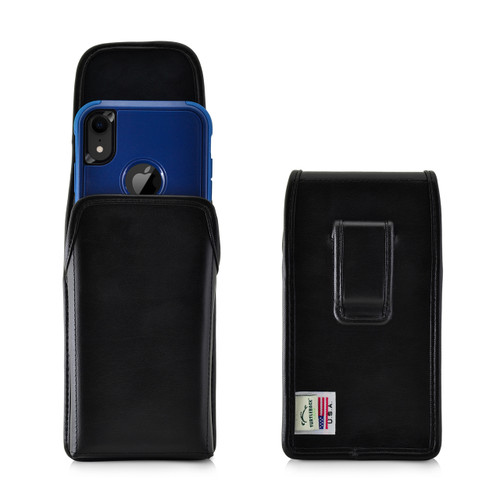 iPhone 11 (2019) & XR (2018) Fits with OTTERBOX COMMUTER, Vertical Belt Case Black Leather Pouch with Executive Belt Clip, Made in USA