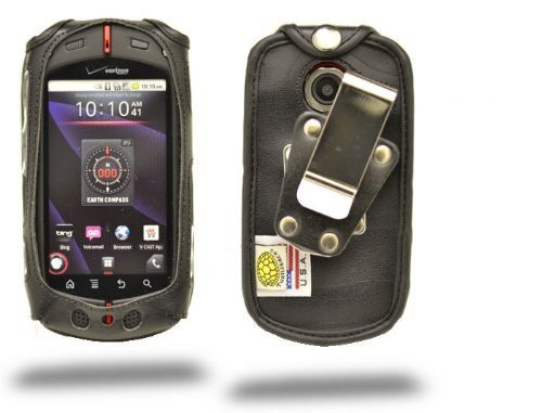 Casio GzOne Commando Black Leather Case with Rotating Metal Clip