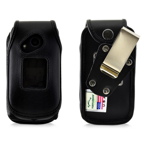 Turtleback Sonim XP3 Case Heavy Duty Fitted Black Leather Case with Rotating Removable Metal Belt Clip, Fits SonimXP3 Flip Phone, Made in USA