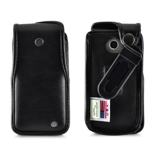 LG Exalt LTE VN220 4G Black Leather Case with Ratcheting, Removable Plastic Belt Clip