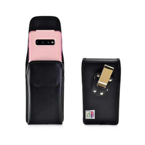 Galaxy S10+ Plus Fits with OTTERBOX COMMUTER Vertical Holster Black Leather Pouch Rotating Belt Clip