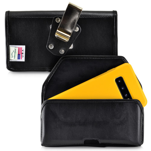 Galaxy S10+ Plus Fits with OTTERBOX SYMMETRY Black Leather Holster Pouch Rotating Belt Clip Horizontal