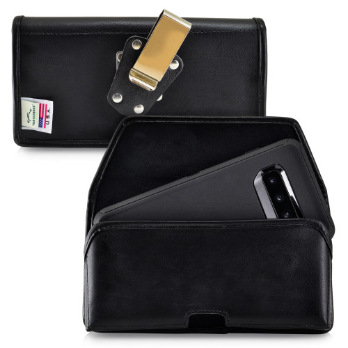 Galaxy S10+ Plus Fits with OTTERBOX DEFENDER Black Leather Holster Pouch Rotating Belt Clip Horizontal