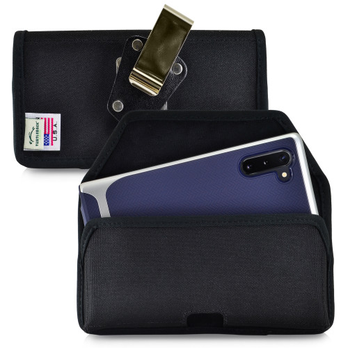 Samsung Galaxy Note 10 (2019) Belt Holster Black Nylon Pouch with Heavy Duty Rotating Belt Clip, Horizontal