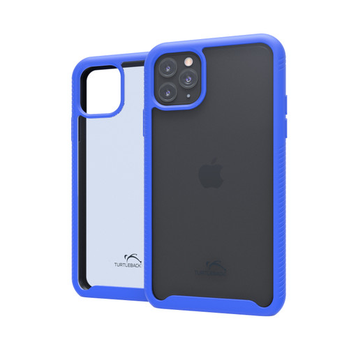 Tough Defense Drop Tested Case for Apple iPhone 11 Pro Max 6.5 Inch, Military Grade, Anti-Scratch Ultra Clear Back, Blue Sides
