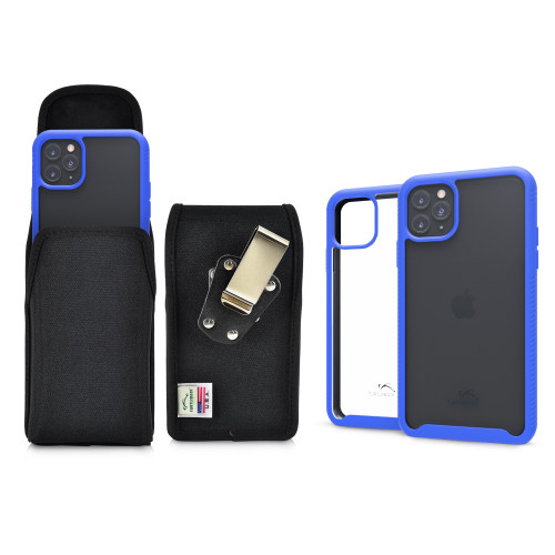 Tough Defense Combo for iPhone 11 Pro Max, Blu/Clr Drop Test Case + Ver Nylon Pouch, Metal Clip