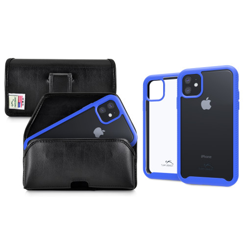 Tough Defense Combo for iPhone 11, Blue/Clear Drop Test Case + Horizontal Pouch, Leather Clip