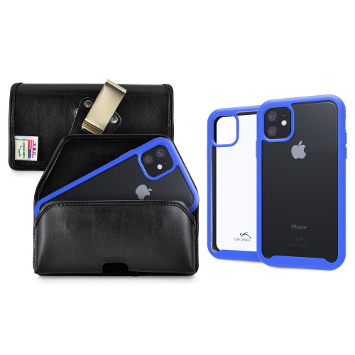 Tough Defense Combo for iPhone 11, Blue/Clear Drop Test Case + Horizontal Pouch, Metal Clip
