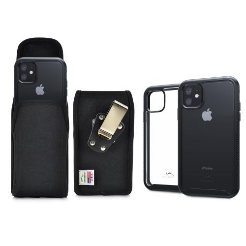 Tough Defense Combo for iPhone 11, Black/Clear Drop Test Case + Ver Nylon Pouch, Metal Clip
